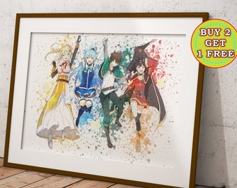 KonoSuba God's Blessing on This Wonderful World! Anime Print, Anime Watercolor, Manga Art, Anime Wall Art, Anime Decor, OC-995