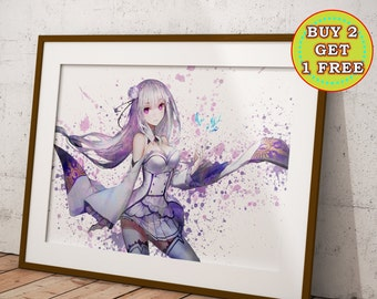 Emilia ReZero Anime, Re:Zero Kara Hajimeru Isekai Seikatsu Anime Print, Anime Watercolor, Manga Art, Anime Wall Art, Anime Decor, OC-989