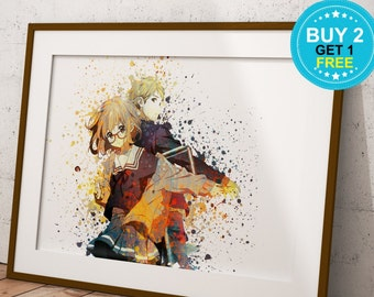Anime Beyond the Boundary Poster, Kyoukai no Kanata Print, Anime Watercolor, Manga Art, Anime Wall Art, Anime Wall Decor, Anime OC-956