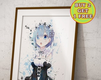 ReZero Rem, Re:Zero Kara Hajimeru Isekai Seikatsu Anime Print, Anime Watercolor, Manga Art, Anime Wall Art, Anime Decor, OC-987