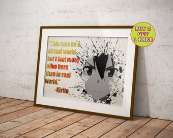 SWORD ART ONLINE POSTER Kirigaya Kazuto Yuuki Asuna Print Photo Poster A3 A4