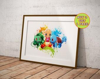 Pokemon Charmander Squirtle Bulbasaur, Pokemon Poster, Pokemon Anime,Pokemon Gifts,Pokemon, Pokemon Canvas, Anime, Pokemon Watercolor OC-674