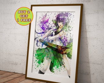 Highschool of the Dead, Saeko Busujima Anime Poster, Anime Watercolor, Anime Art Manga Art OC-912