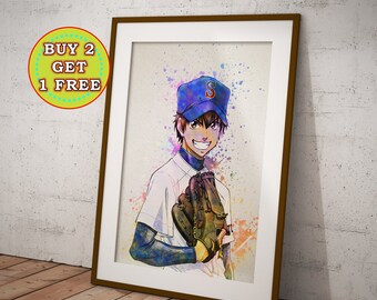 Ace of Diamond Anime, Eijun Sawamura, Anime Poster, Anime Art, Anime Print, Anime Watercolor, Manga Art OC-831