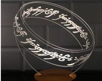 Lord of The Rings Lamp, 3D Lord of The Rings Lamp, Ring Lamp, Gift for Geeks, Gift for Him, Gift for Her, Christmas Gift, 3D LED Desk Lamp
