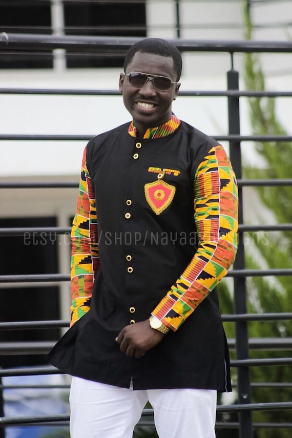 5d47a9e6 Men's kente & black long sleeves with embroidered broach; African Clothing;  Mens Fashion Wear; African Wear; African; Kente