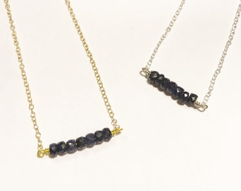 Sapphire Bar Necklace - Gold or Silver - September Birthstone - 18""