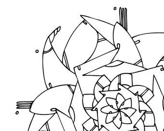 Pinwheel Mandala Coloring Page