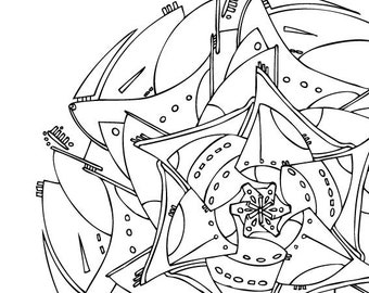 Space Age Mandala Coloring Page