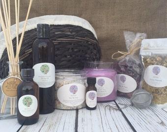 Sweet Dreams | Large Spa Basket | Lavender Soy Candle | Lavender Gift Basket