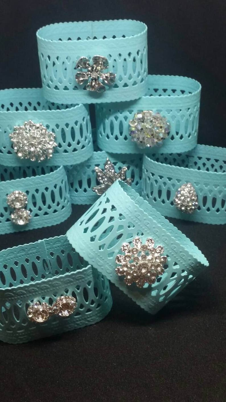 Oval Turquoise Metal Napkin Rings Set of 8