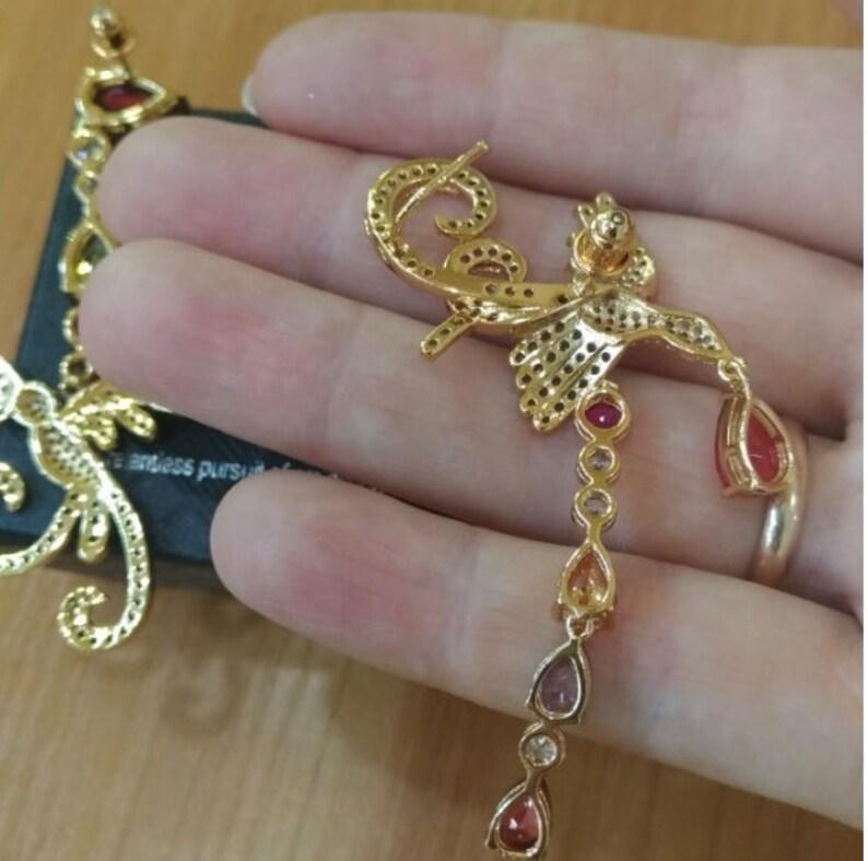 Multicolor Phoenix Shape Long Drop Earrings