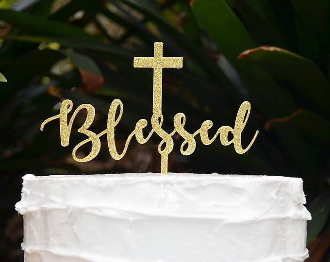 Blessed Cross Baptism Christening Confirmation Cake Topper