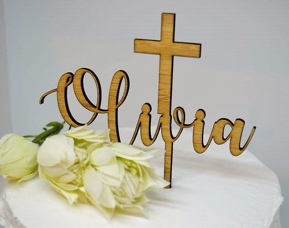Name Cake Topper Cross Baptism Christening Confirmation Custom Personalized Timber Wood Cake Topper