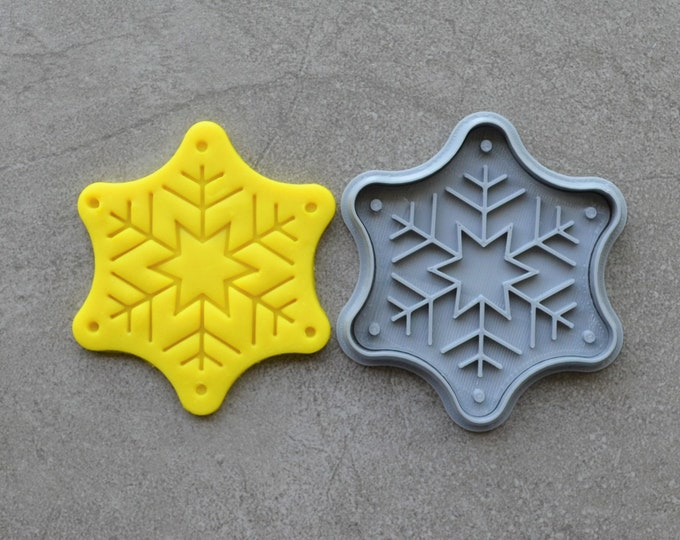 Snow Flake Christmas Cookie Fondant Cutter & Stamp Fondant