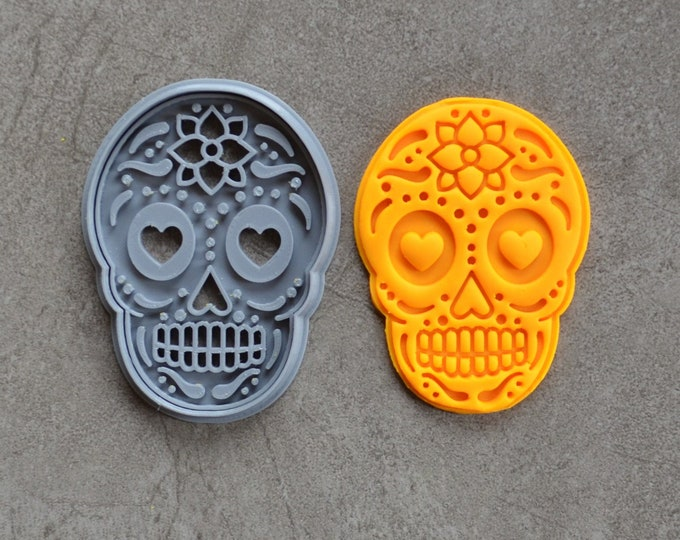 Skull Halloween Day of the Dead Cookie Fondant Cutter & Stamp Fondant