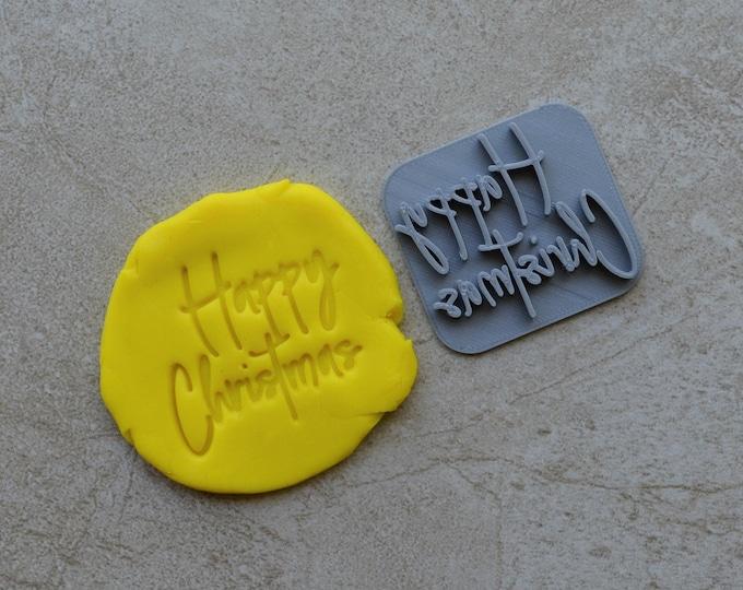 Happy Christmas Imprint Cookie/Fondant/Soap/Embosser Stamp