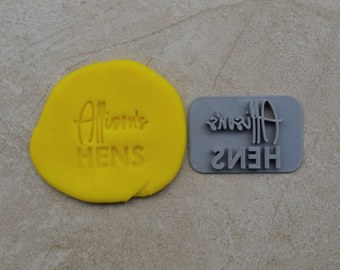 Hens Custom Name V2 Imprint Cookie/Fondant/Soap/Embosser Stamp