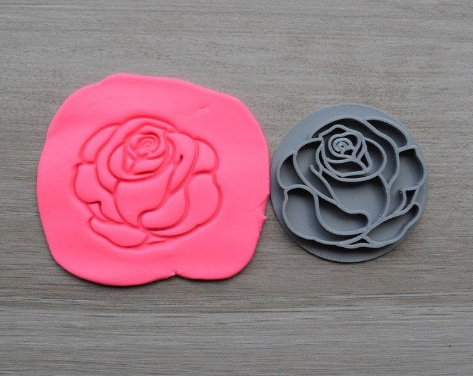 Rose Flower Imprint Cookie/Fondant/Soap/Embosser Stamp
