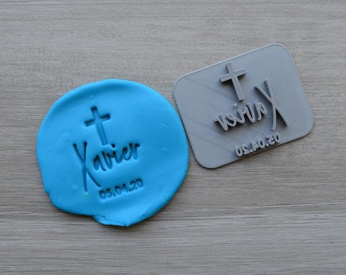 Name Date Cross V2 Baptism Christening Confirmation Imprint Custom Personalized Cookie/Fondant/Soap/Embosser Stamp