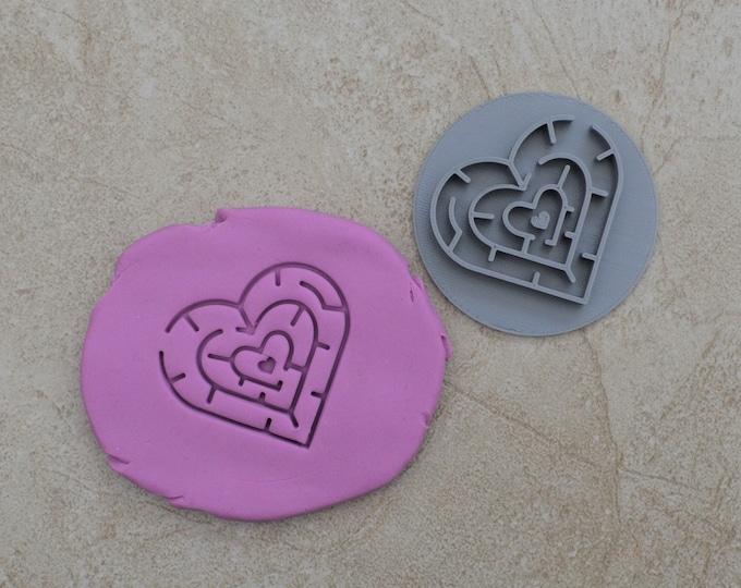Love Heart Maze Imprint Cookie/Fondant/Soap/Embosser Stamp