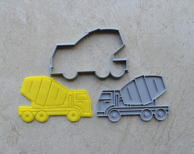 Cement Concrete Truck Cookie Fondant Cutter & Stamp Fondant
