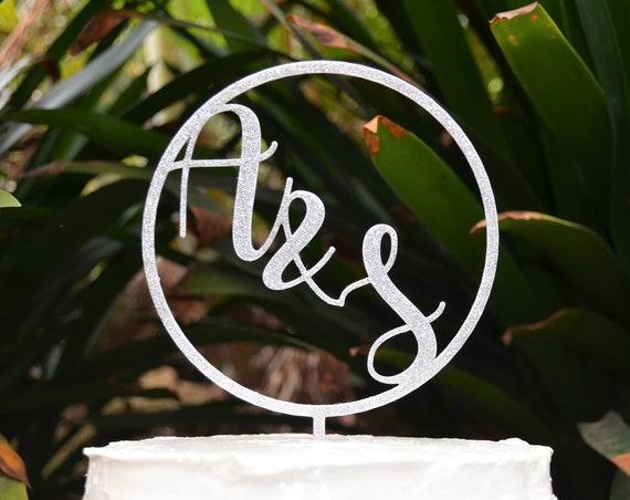 Name Initials Cake Topper - Wedding Custom Personalized Name Cake Topper