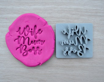 Wife Mum Boss Imprint Cookie/Fondant/Soap/Embosser Stamp