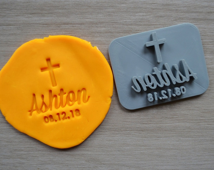 Name Date Cross Baptism Christening Confirmation Imprint Custom Personalized Cookie/Fondant/Soap/Embosser Stamp