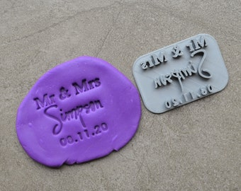 Mr & Mrs Custom V5 Personalized Name And Date Imprint Wedding Engagement Cookie/Fondant/Soap/Embosser Stamp