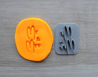 Mr & Mrs Imprint Font 3 Cookie/Fondant/Soap/Embosser Stamp