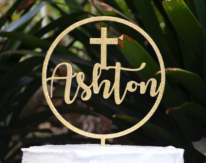 Circle Name Cake Topper Cross Baptism Christening Confirmation Custom Personalized Cake Topper