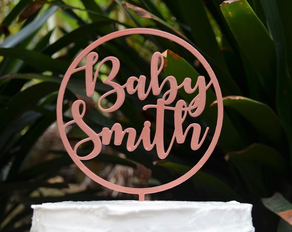 Circle Baby Name Cake Topper Custom Personalized - Baby Shower Cake Topper - Baby Boy Baby Girl Cake Topper