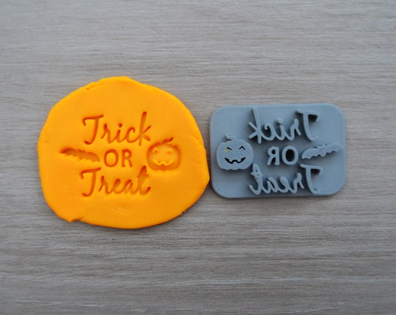 Trick Or Treat Imprint Cookie/Fondant/Soap/Embosser Stamp