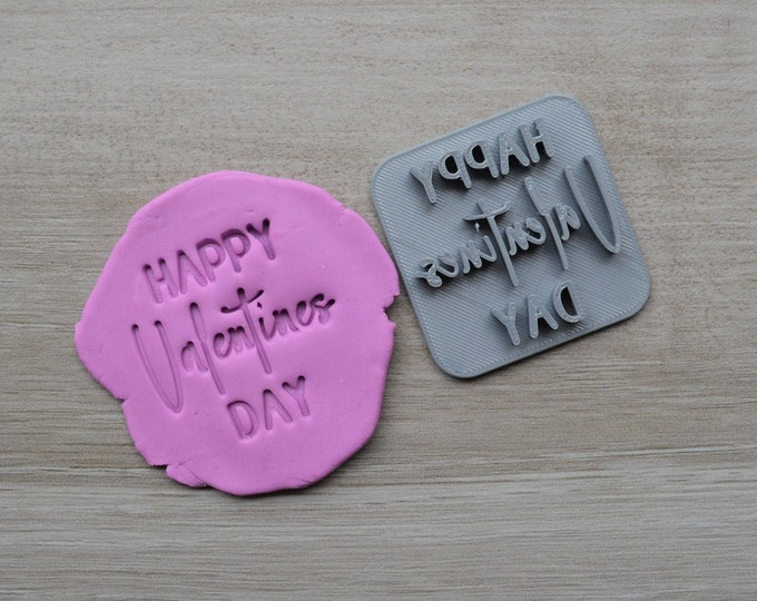 Happy Valentines Day Imprint Font 3 Cookie/Fondant/Soap/Embosser Stamp