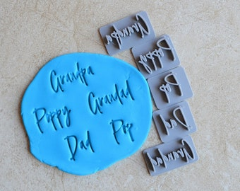 Grandpa Poppy Grandad Dad Pop Imprint Cookie/Fondant/Soap/Embosser Stamp