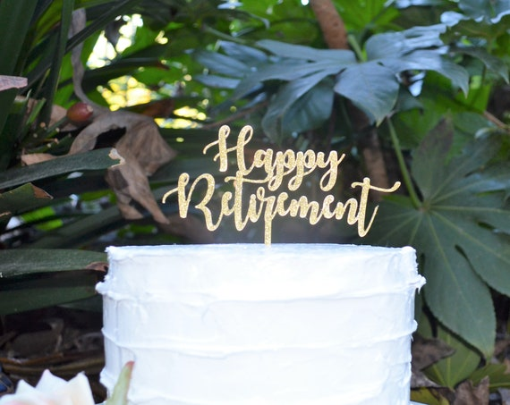 Happy Retirement Font 2 Cake Topper - Assorted Colours