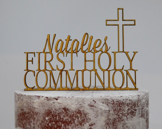 First Holy Communion Cross Baptism Christening Confirmation Custom Personalized Name Timber Wood Cake Topper