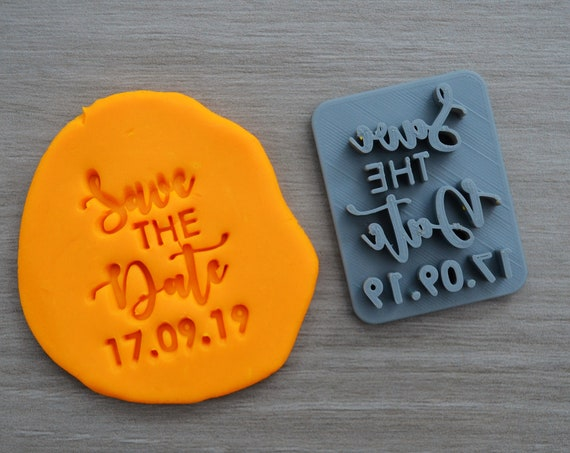Save The Date Custom Date Imprint Cookie/Fondant/Soap/Embosser Stamp