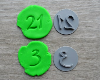 Custom Number Cookie Fondant Embossing Stamp Personalised Number 0-99 option