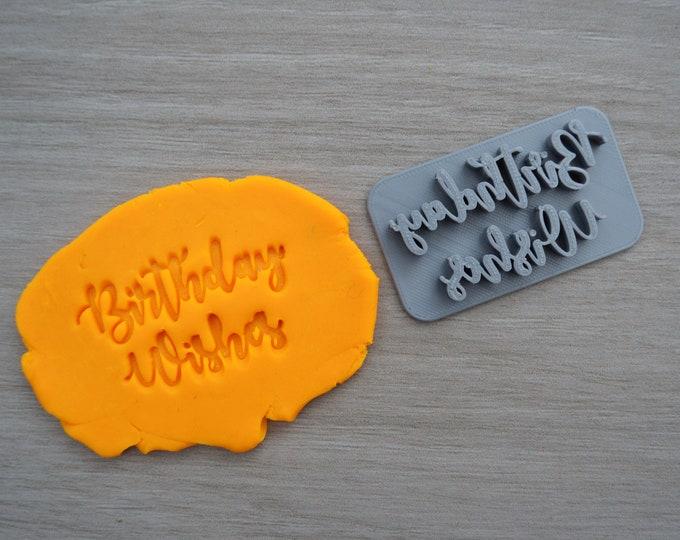 Birthday Wishes Imprint Cookie/Fondant/Soap/Embosser Stamp