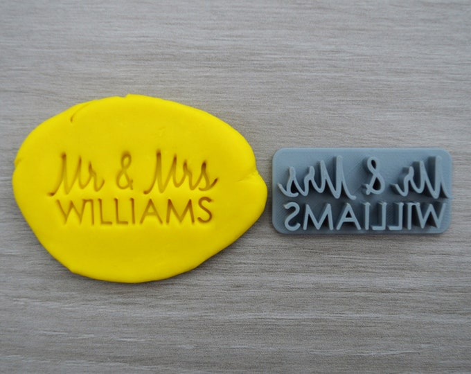 Mr & Mrs Custom Font 2 Personalized Name Imprint Cookie/Fondant/Soap/Embosser Stamp