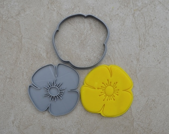 Poppy Flower Cookie Fondant Cutter & Stamp Fondant
