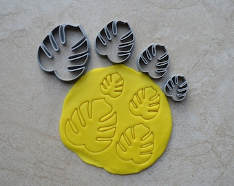 Monstera Leaf Polymer Clay Cutter Set Cookie Fondant Cutters