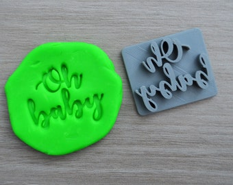 Oh Baby Font 2 Imprint Cookie 4.5cm/Fondant/Soap/Embosser Stamp