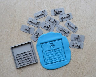 Calendar Cookie Fondant Cutter & Stamp Fondant - Save the Date Cookie - Months Embosser