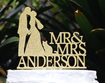 Mr & Mrs Wedding Cake Topper  - Bride and Groom and Cat Personalized
