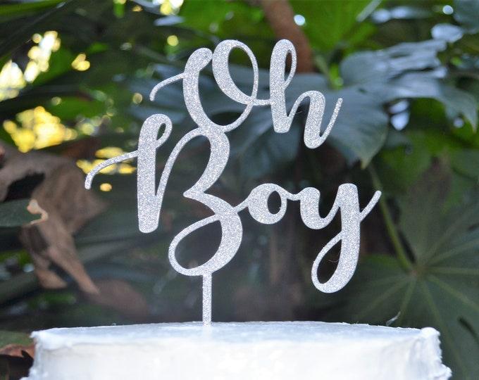 Oh Boy Cake Topper Font 2 - Baby Shower Cake Topper - Baby Boy Cake Topper