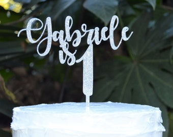 Age 1 Custom/Personalized Name Birthday Cake Topper - Assorted Colours