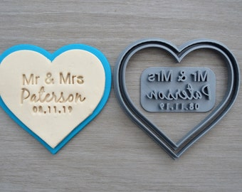 Heart V2 Wedding Shower Bridal Anniversary Engagement Valentine Party Name & Date Cookie/Fondant Cutter Set Custom Names